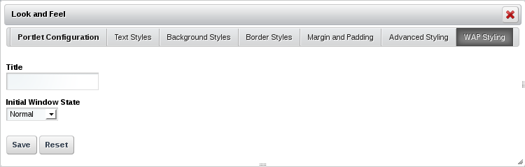 Figure 7.7: The WAP Styling tab lets you enter a custom portlet title to be displayed to devices making page requests via WAP; it also allows you to specify an initial window state.