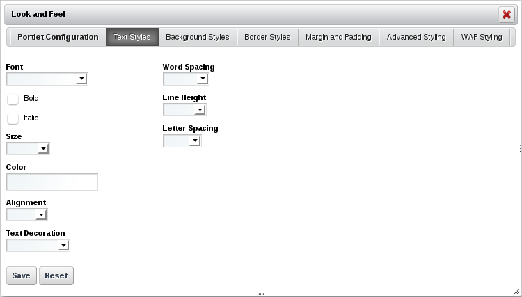Figure 7.2: The Text Styles tab lets you configure the format of the text that appears in the portlet.