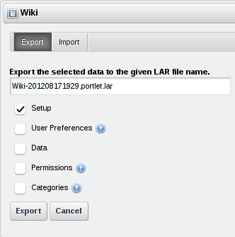 Figure 7.8: When exporting portlet data, you can choose which categories of information to include.
