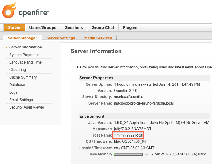 Figure 7.36: Openfire Administration Web Tool