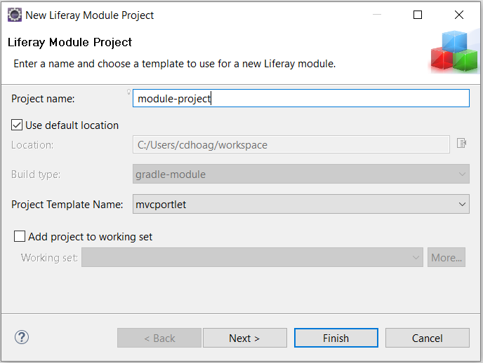 Figure 1: When selecting New → Liferay Module Project, a Module Project Wizard appears.