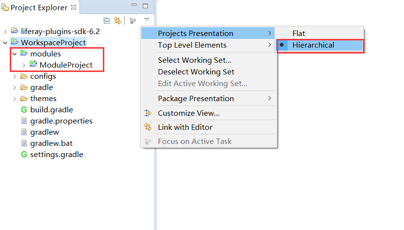 Figure 3: The Hierarchical project presentation mode is set, by default.