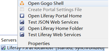 Figure 1: Select Open Gogo Shell to open a terminal window in Developer Studio using Gogo shell.
