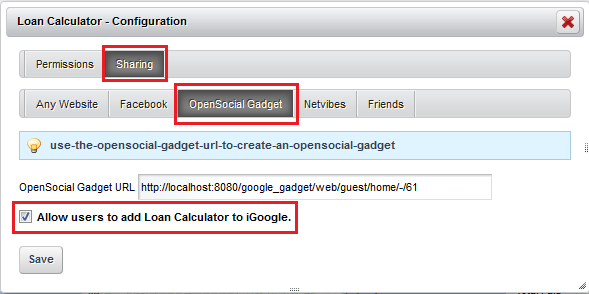 Figure 8.19: Allow users to add your portlet as an OpenSocial Gadget in iGoogle.