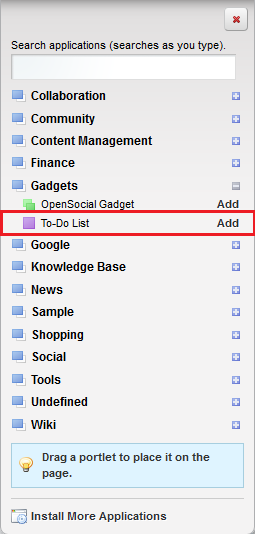 Figure 8.17: You can conveniently list your gadgets within the Gadgets category.