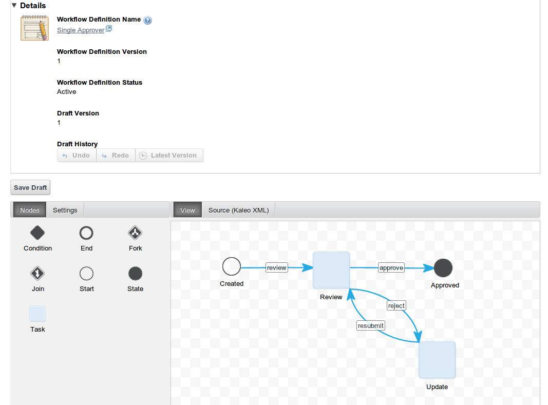 Figure 9.11: Creating a new workflow with Kaleo Designer