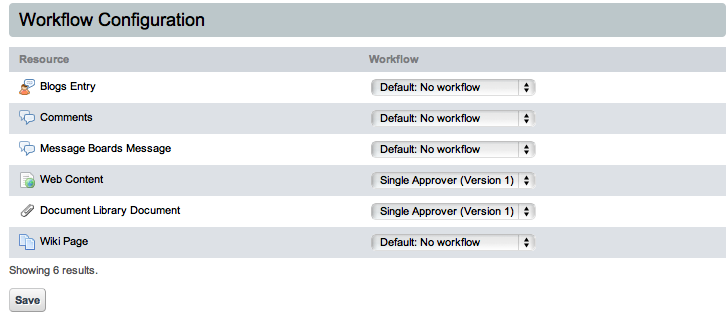 Figure 10.4: The Workflow Configuration Page