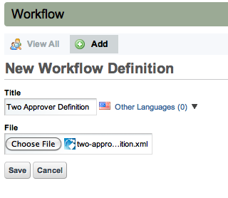 Figure 10.3: Adding a Workflow Definition