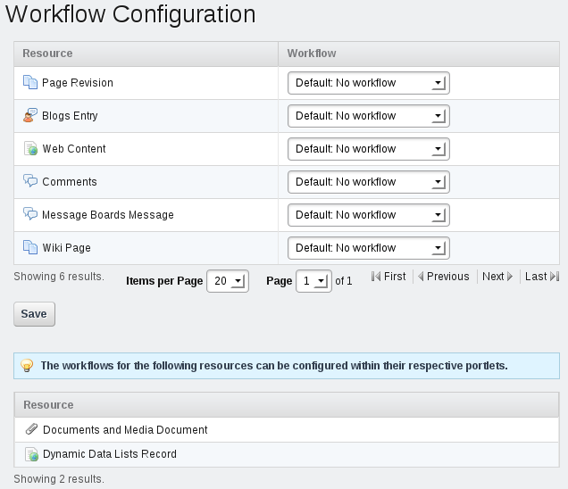 Figure 10.11: The Workflow Configuration page of the Control Panel lists the resources for which can select a workflow for your chosen scope.