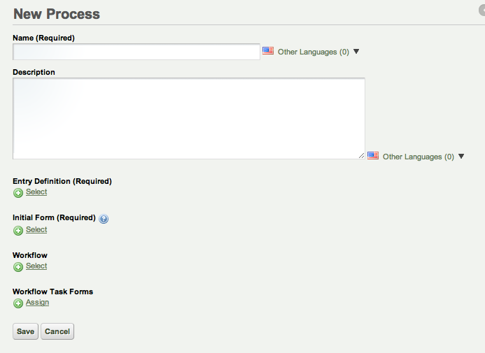 Figure 11.2: The New Process page gives you several options when creating a new workflow.