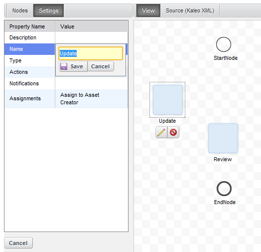 Figure 11.6: Edit a node by clicking on its edit icon and modifying its settings.