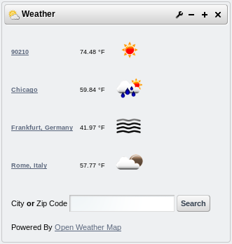 Liferays Weather portlet displays basic weather-related information (temperature, conditions) for multiple configurable locations.