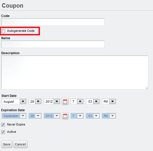 Figure 12.28: Create a coupon code automatically when you select the Autogenerate Code box.