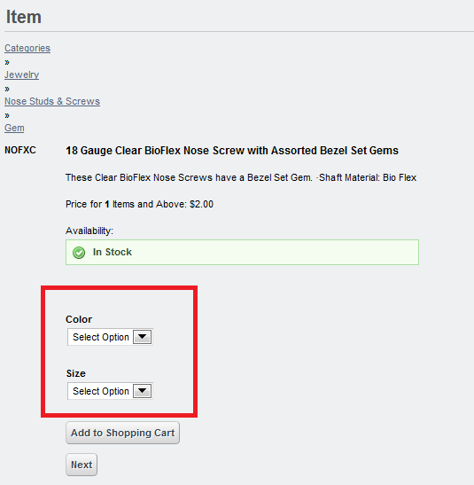 Figure 12.18: The additional fields you create for an item appear in the item description form as menu options.