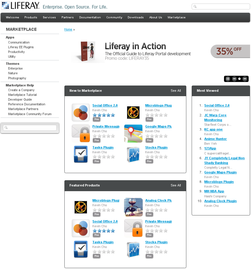 Figure 13.1: Marketplace Home Page