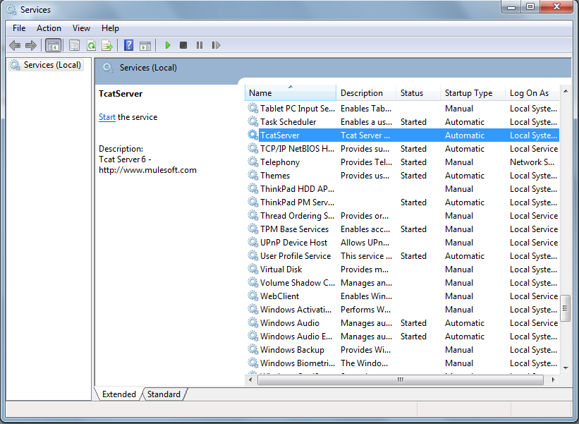 Figure 14.20: Windows services console