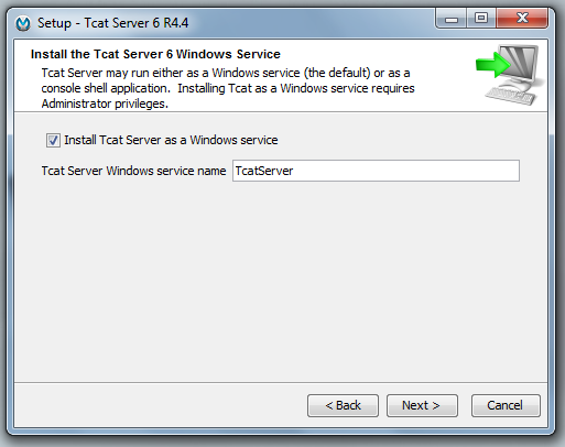 Figure 14.8: Windows service installation
