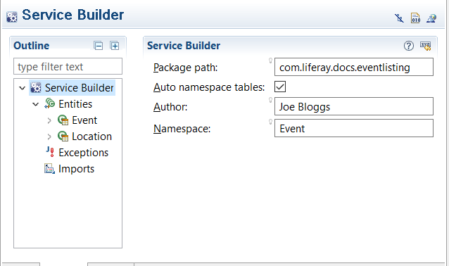 Figure 1: This is the Service Builder form from a fictitious Event Listing applications service.xml.