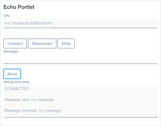 Figure 1: The example Echo portlet sends and receives a simple message via a WebSocket endpoint.