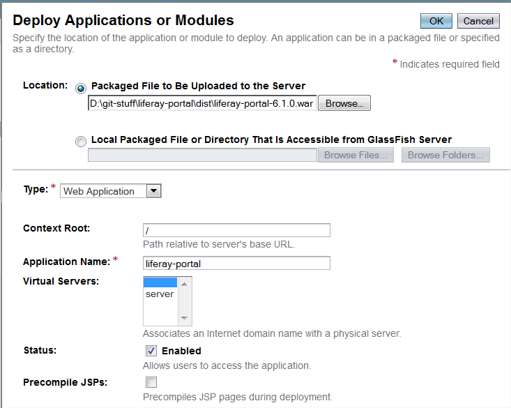 Figure 14.40: Deploying Liferay in GlassFish 3.1.x