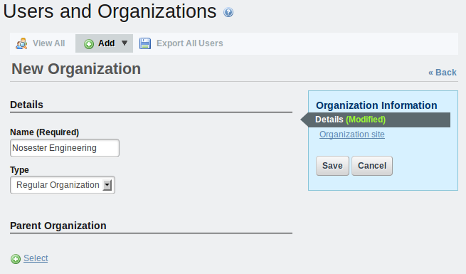 Figure 15.4: Adding an organization