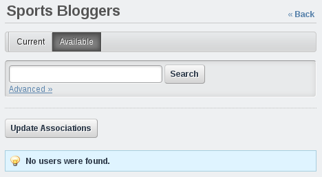 Figure 15.13: Users assigned to the User Group Manager role cant find any users to add!