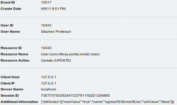 Figure 17.3: Clicking an event in the list shows the details of that event. This event shows it mustve been Stephen Professors first time logging into the site, because hes accepting the terms of use.