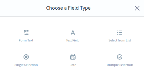 Figure 1: The Forms application has useful out-of-the-box field types, but you can add your own if you need to.