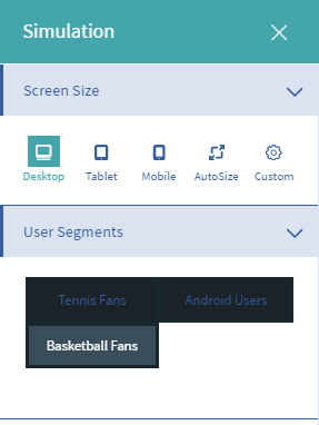 Figure 2: The Audience Targeting app extends the Simulation Menu to help simulate different users and campaign views.