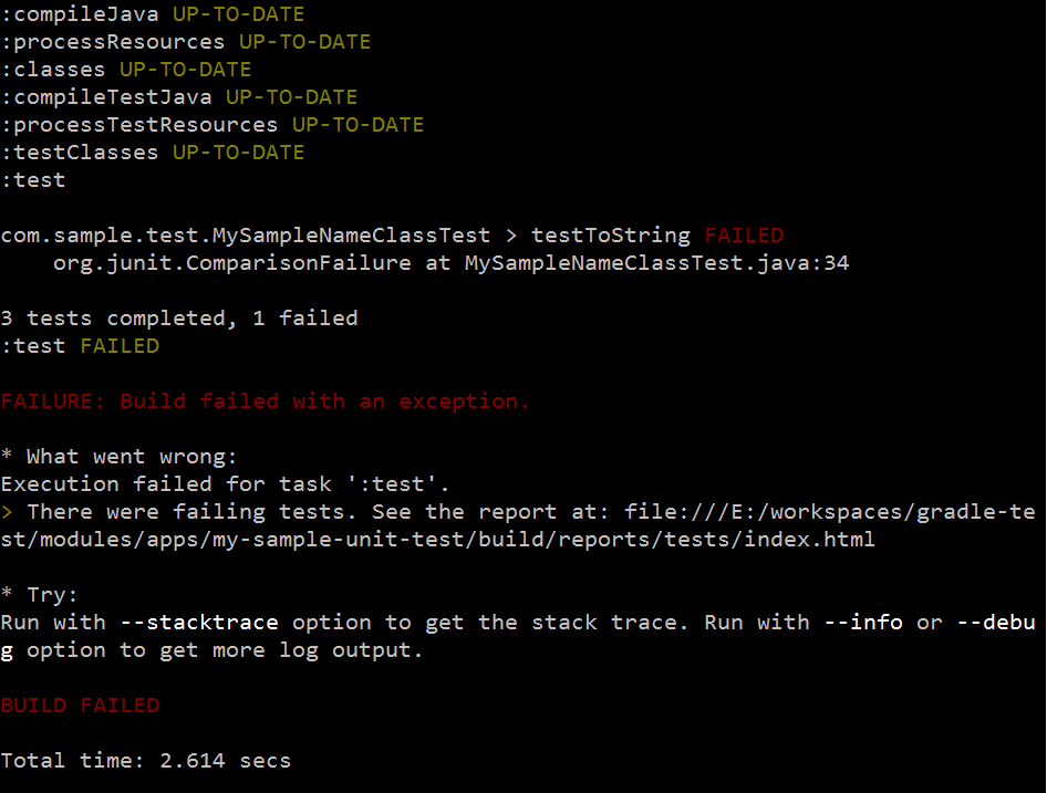 Figure 5: Command output of failing tests looks like this.
