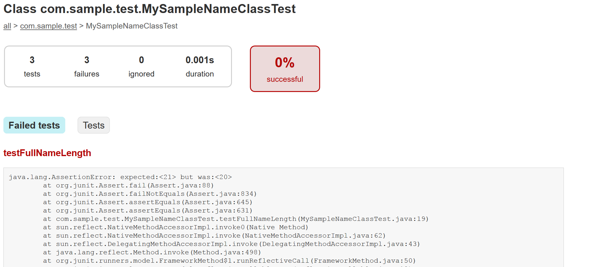Figure 6: Heres a failed tests stack trace.