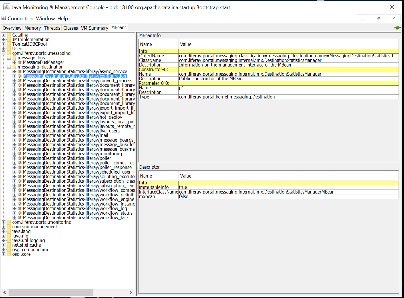 Figure 1: JConsole shows statistics on Message Bus messages sent, messages pending, and more.