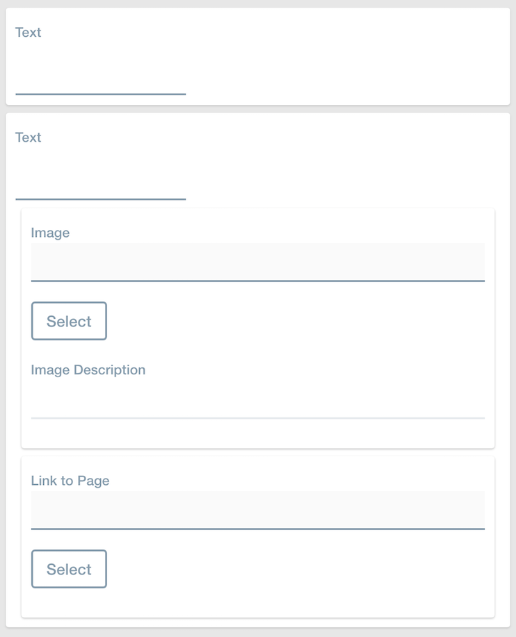 Figure 3: The canvas should look like this after you add the Text, Image, and Link to Page fields. Note that the Image and Link to Page fields are nested in the second Text field.