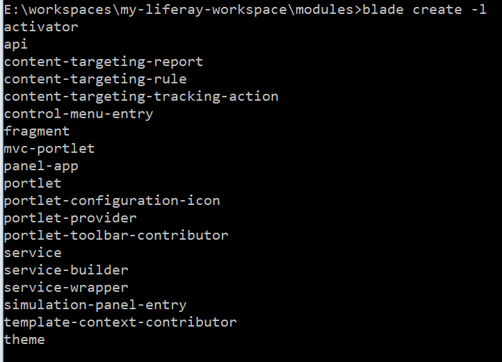 Figure 2: Blades create command generates a project based on a template. Executing create -l lists the template names.