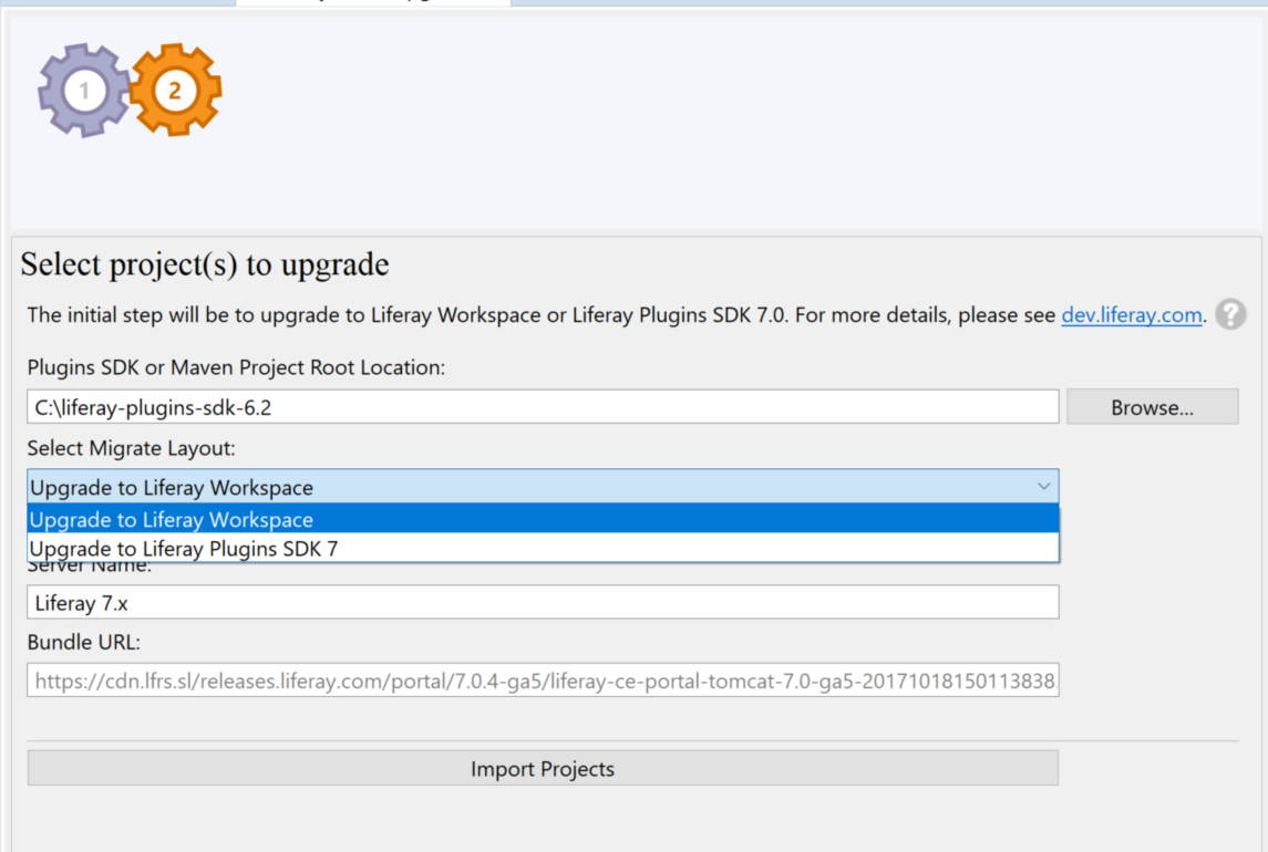 Figure 1: Liferay Dev Studio DXPs Upgrade Planner automates many aspects of the plugin upgrade process.
