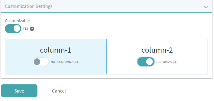 Figure 8: To enable page customizations, click on the Configure Page button next to the page, expand the Customization Settings area, and click on the Customizable button.