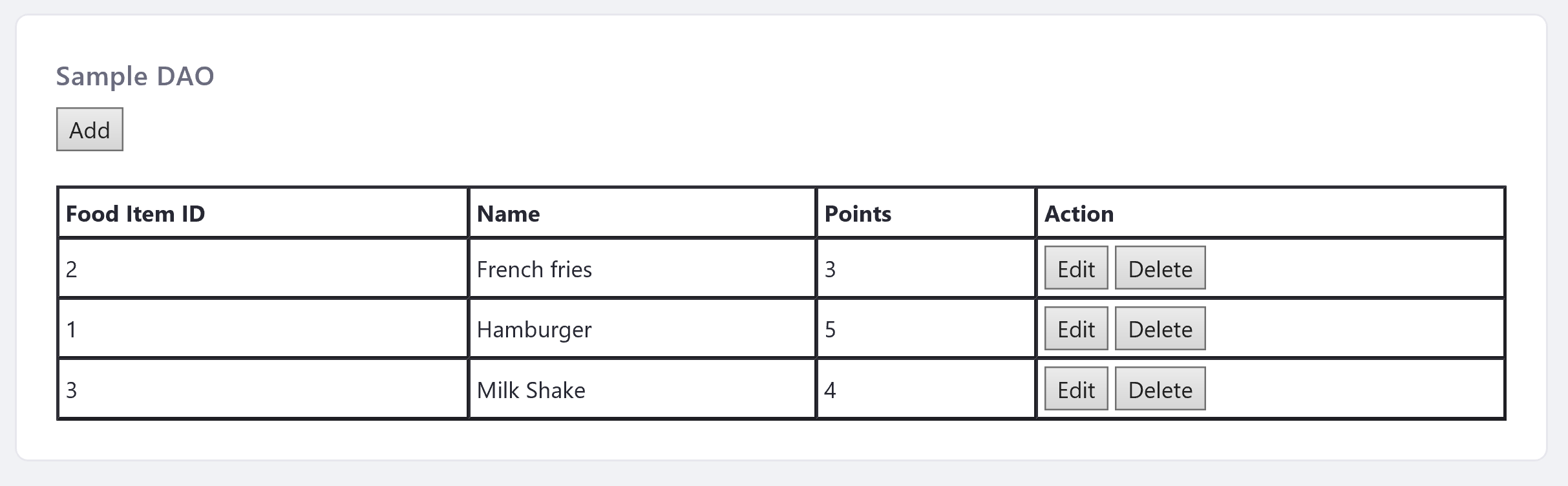 Figure 1: The sample-dao-portlet lets users manage food items.
