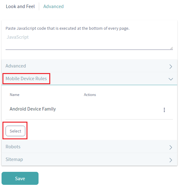 Figure 3.31: To apply a mobile device family to a page set of a site, click on Mobile Device Rules, click Select, and select the desired rule group.
