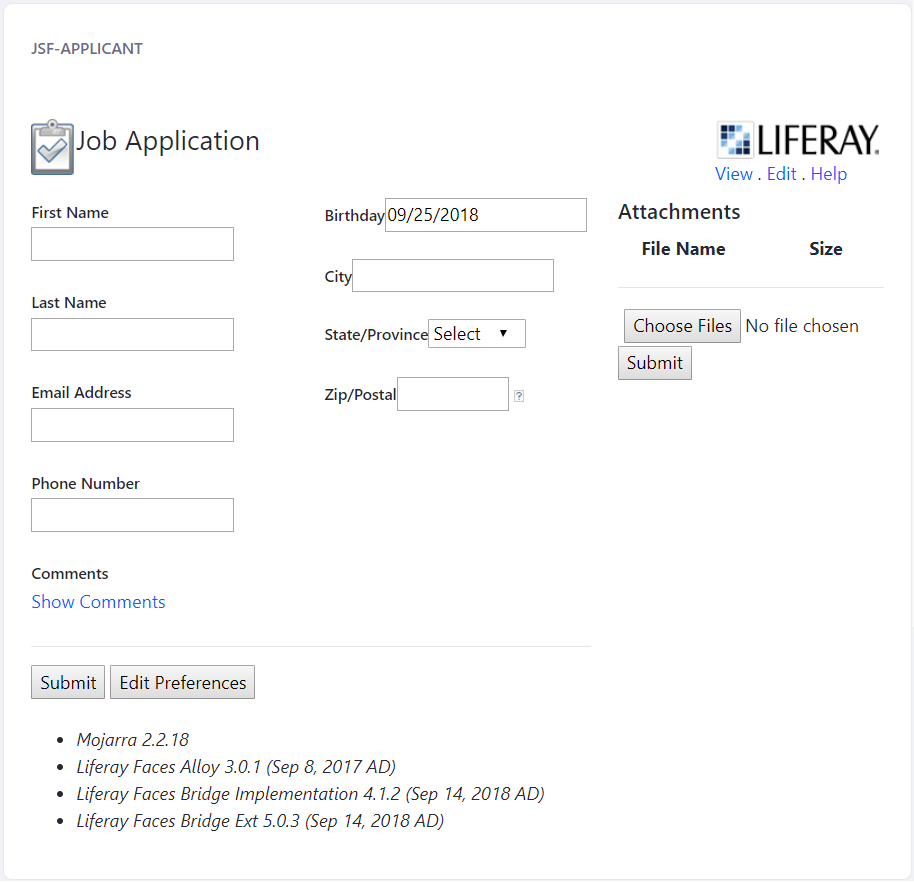 Figure 3: Youve successfully updated the JSF Applicant portlet for Liferay DXP 7.1!