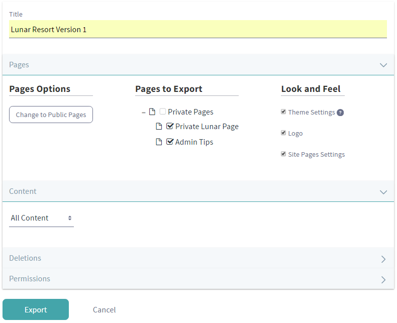 Figure 1: You can configure your export options manually by selecting pages, content, and permissions.