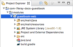 Figure 2: Your new module project appears in your Liferay Workspaces modules folder.