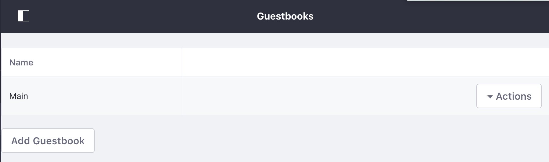 図1:ゲストブック管理ポートレットを使用すると、管理者はゲストブックを追加または編集したり、アクセス許可を構成したり、ゲストブックを削除したりできます。