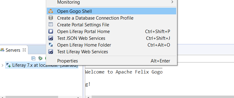 Figure 1: Select Open Gogo Shell to open a terminal window in Dev Studio using Gogo shell.