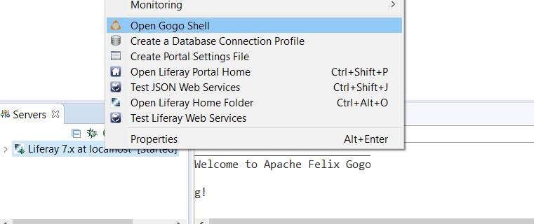 図1:Gogoシェルを使用してDev Studioでターミナルウィンドウを開くには、*Gogoシェルを開く*を選択します。