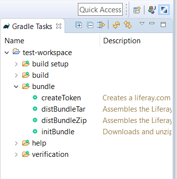 Figure 3: The Gradle Task toolbar offers Gradle tasks and their descriptions, which can be executed by double-clicking them.