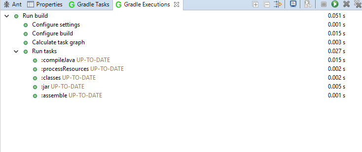 Figure 6: The Gradle Executions view helps you visualize the Gradle build process.