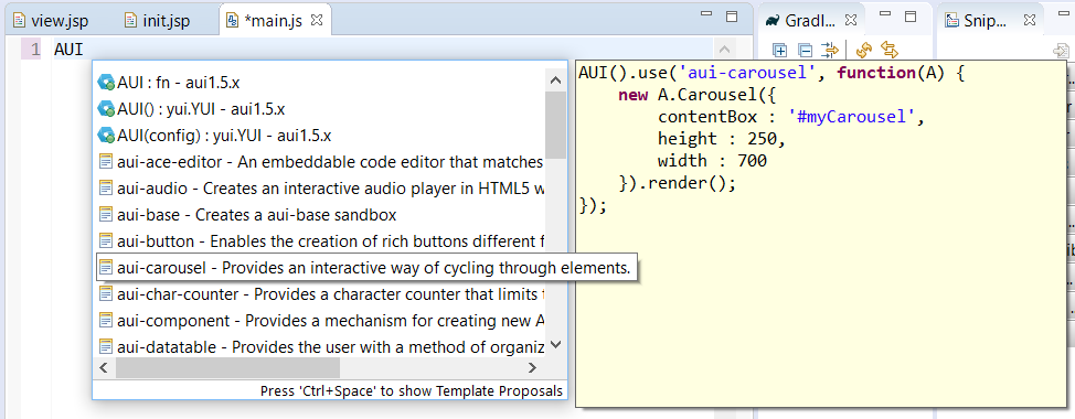 Figure 3: Dev Studio gives you access to AUI code templates in the JS and JSP editors.