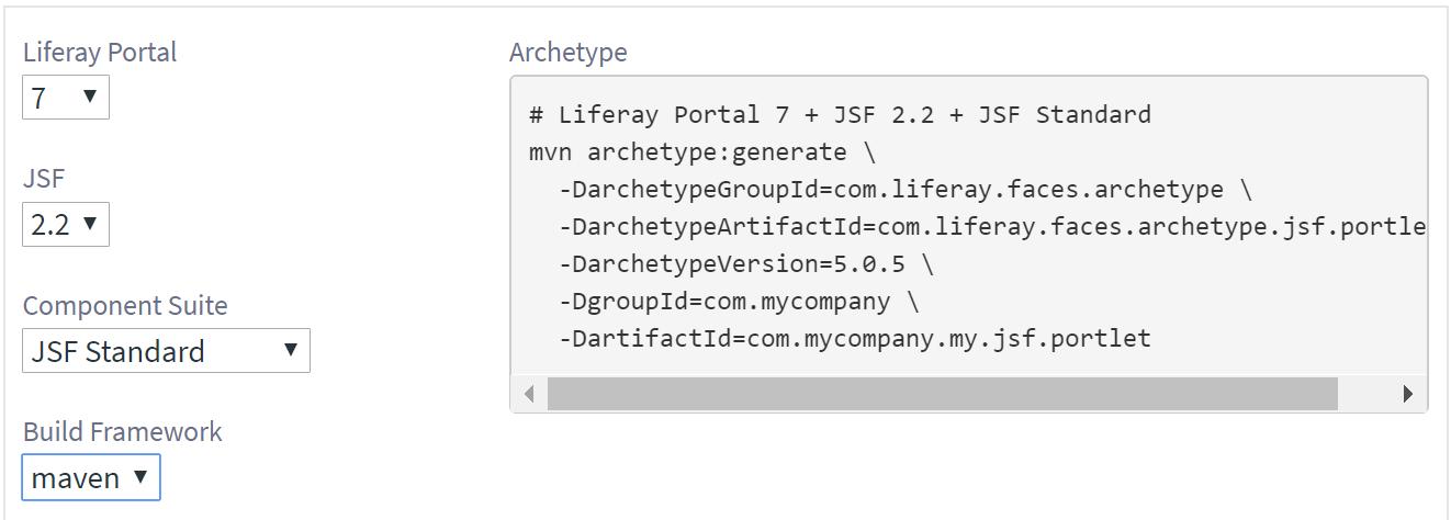 図1:アーキタイプ生成コマンドにLiferay Portalバージョン、JSFバージョン、およびコンポーネントスイートを選択できます。