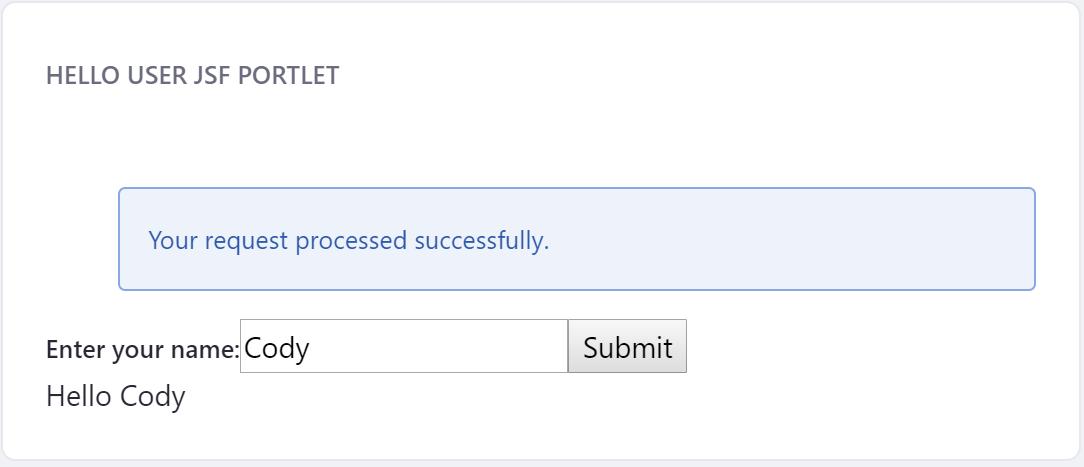 図1:ユーザーの名前を送信すると、挨拶とともに表示されます。