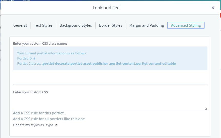 Figure 7: The Advanced Styling tab displays your apps Liferay ID and allows you to enter CSS code to customize the look and feel of your app.